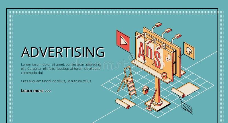 Site Web isométrique de vecteur de société de publicité illustration de vecteur