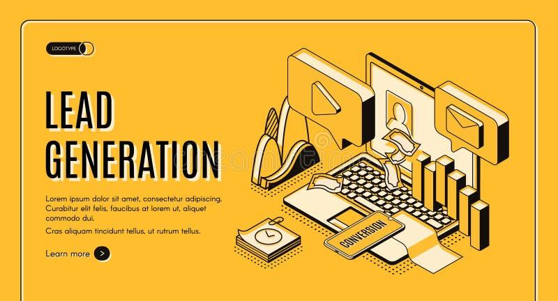 Site Web isométrique de vecteur de stratégie de génération d'avance illustration de vecteur