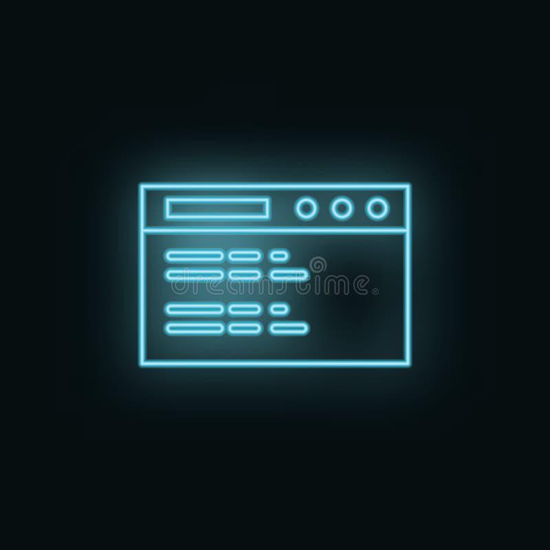 Site Web, site, néon, icône r Élément de symbole simple pour des sites Web, conception web, appli mobile, illustration libre de droits