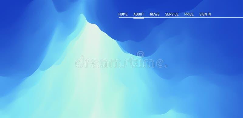 Site Web ou page mobile d'atterrissage d'APP Ciel avec des nuages Rayons de Sun éclatant par les nuages illustration du vecteur 3 illustration stock