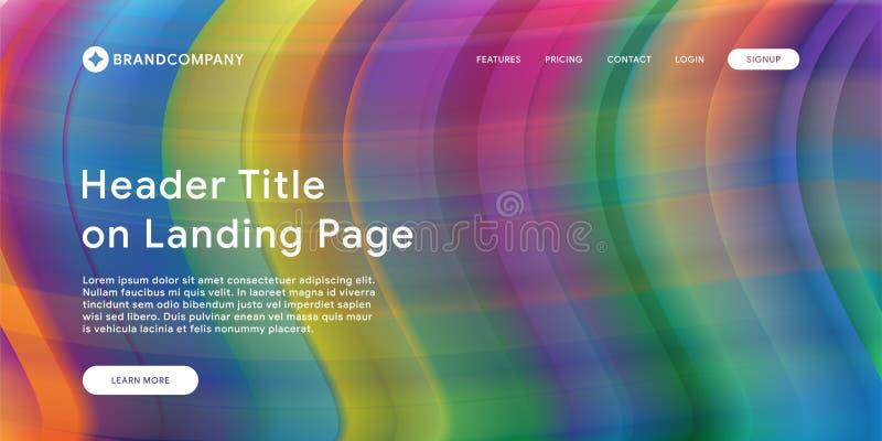 Site Web ou page mobile d'atterrissage d'appli avec l'illustration de la conception et du gradient géométriques minimaux colorés  photos stock