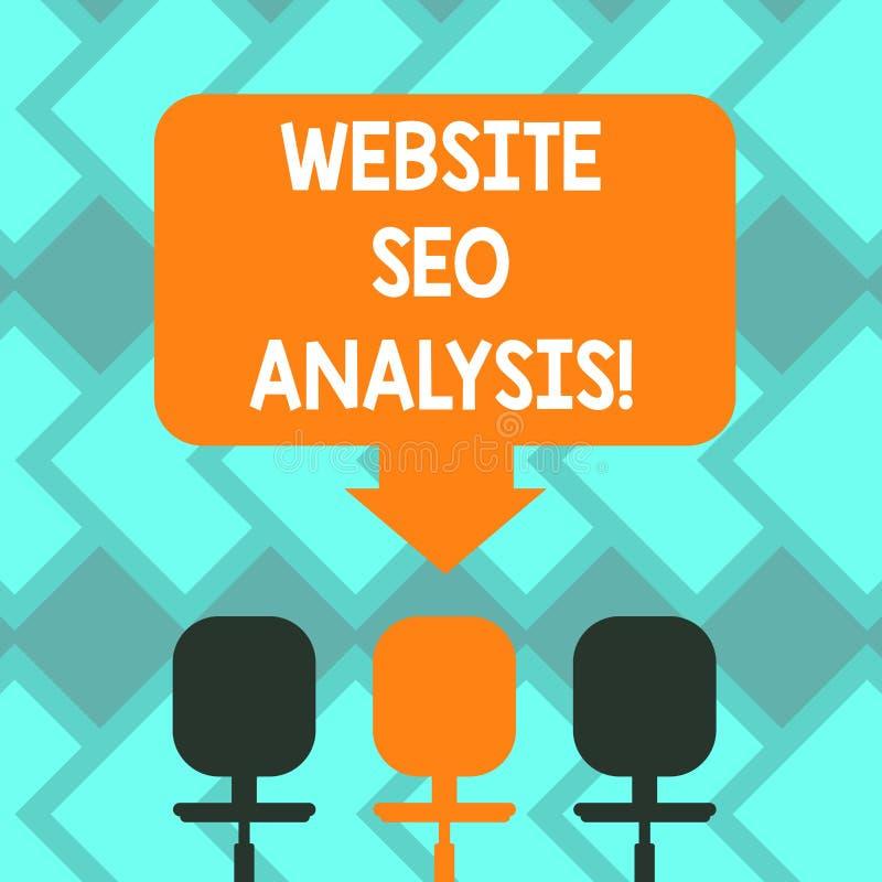 Site Web Seo Analysis d'apparence de signe des textes Processus conceptuel de photo d'apporter des modifications pour augmenter l illustration libre de droits