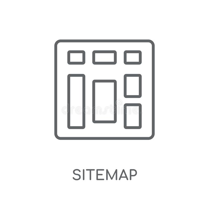 Sitemap线性象 在丝毫的现代概述Sitemap商标概念 皇族释放例证