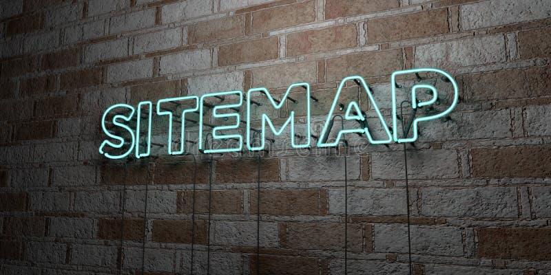 SITEMAP -在石制品墙壁上的发光的霓虹灯广告- 3D回报了皇族自由储蓄例证 皇族释放例证