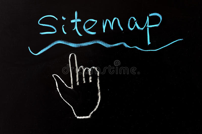 Sitemap. Word and mouse pointer drawn on chalkboard royalty free stock images