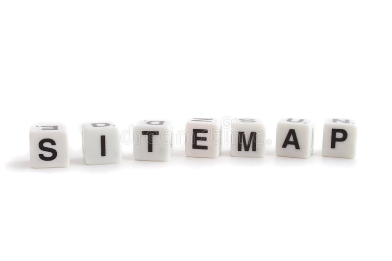 Sitemap. Several dices with characters show the word sitemap. All isolated on white background royalty free stock photography