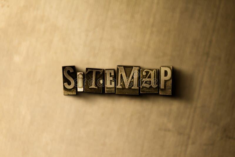SITEMAP - close-up vintage sujo da palavra typeset no contexto do metal fotografia de stock royalty free