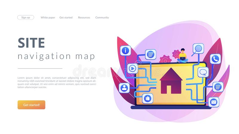 Sitemap creation concept landing page stock illustration