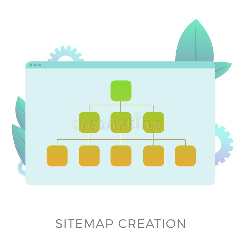 Sitemap creation vector icon. The branched map allows informing search engines about the current website structure. Or more convenient navigation for the user royalty free illustration