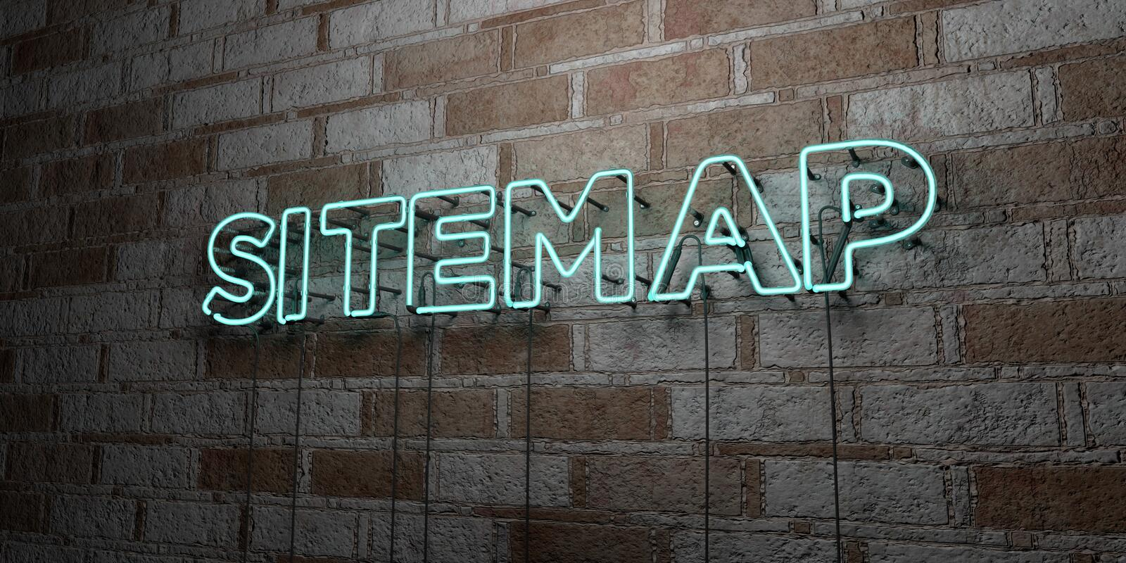 SITEMAP - Glowing Neon Sign on stonework wall - 3D rendered royalty free stock illustration. Can be used for online banner ads and direct mailers royalty free illustration