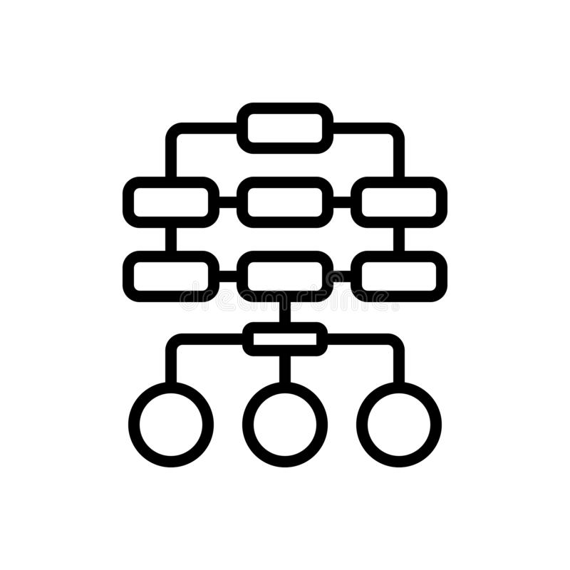 Black line icon for Sitemap, layout and hierarchy. Black line icon for Sitemap, pyramid, structure, chart, site,  layout and hierarchy stock illustration