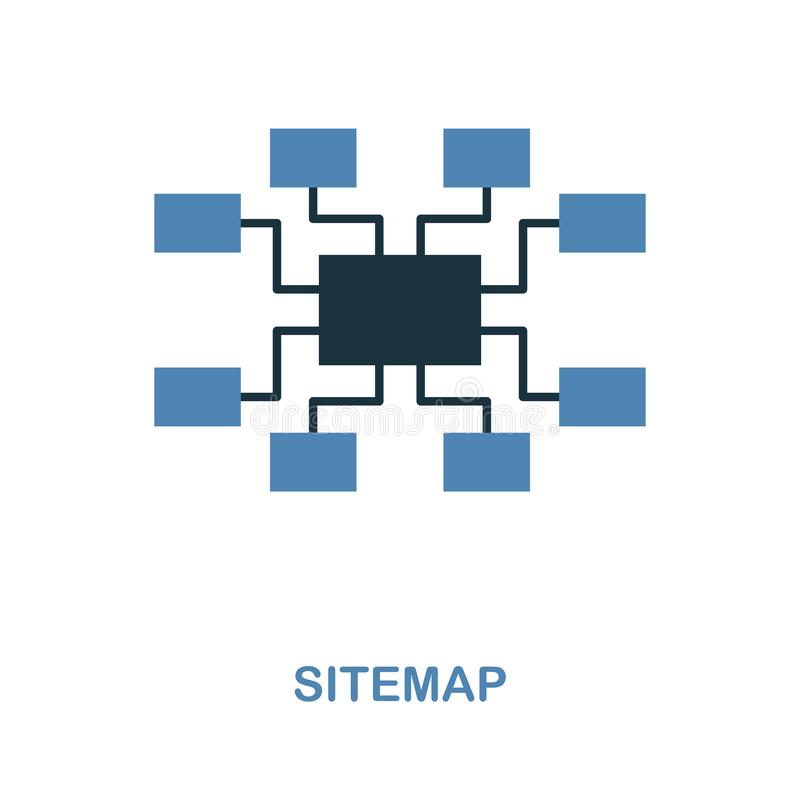 Sitemap icon. Simple element illustration in 2 colors design. Sitemap icon sign from seo collection. Perfect for web design, apps, royalty free illustration