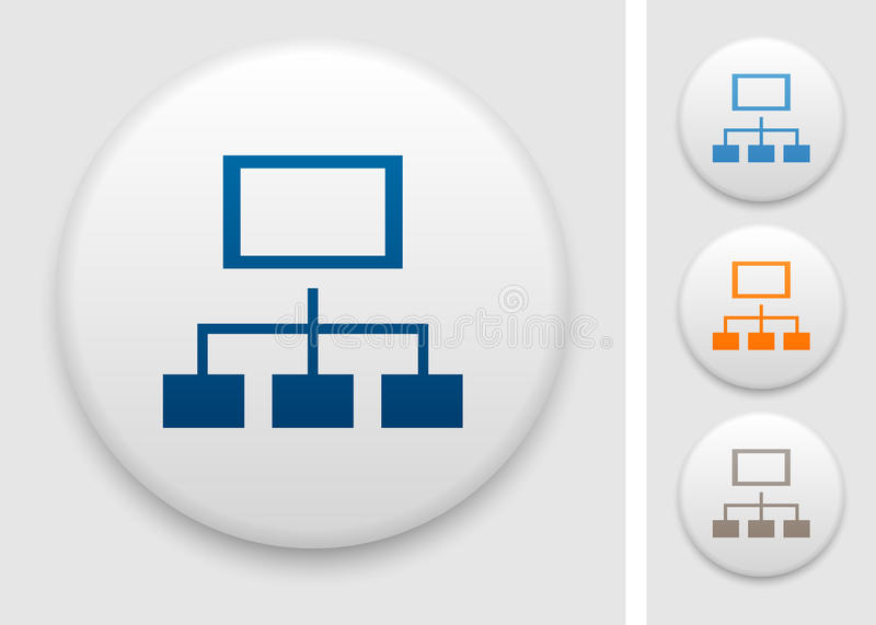 Sitemap icon. Sitemap symbol on round button royalty free illustration