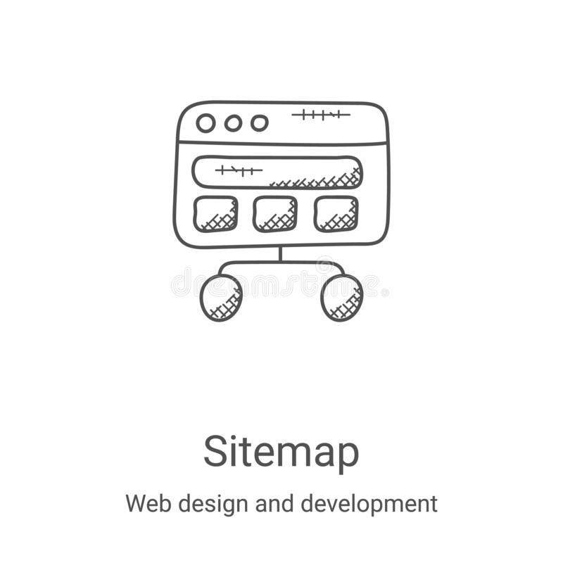 Sitemap icon vector from web design and development collection. Thin line sitemap outline icon vector illustration. Linear symbol. For use on web and mobile vector illustration