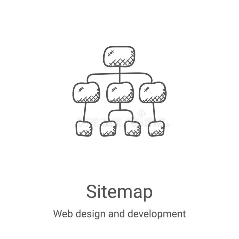 Sitemap icon vector from web design and development collection. Thin line sitemap outline icon vector illustration. Linear symbol. For use on web and mobile stock illustration