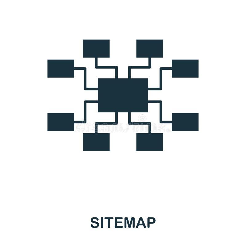 Sitemap ikona Kreskowego stylu ikony projekt Ui Ilustracja sitemap ikona piktogram odizolowywający na bielu Przygotowywający używ royalty ilustracja