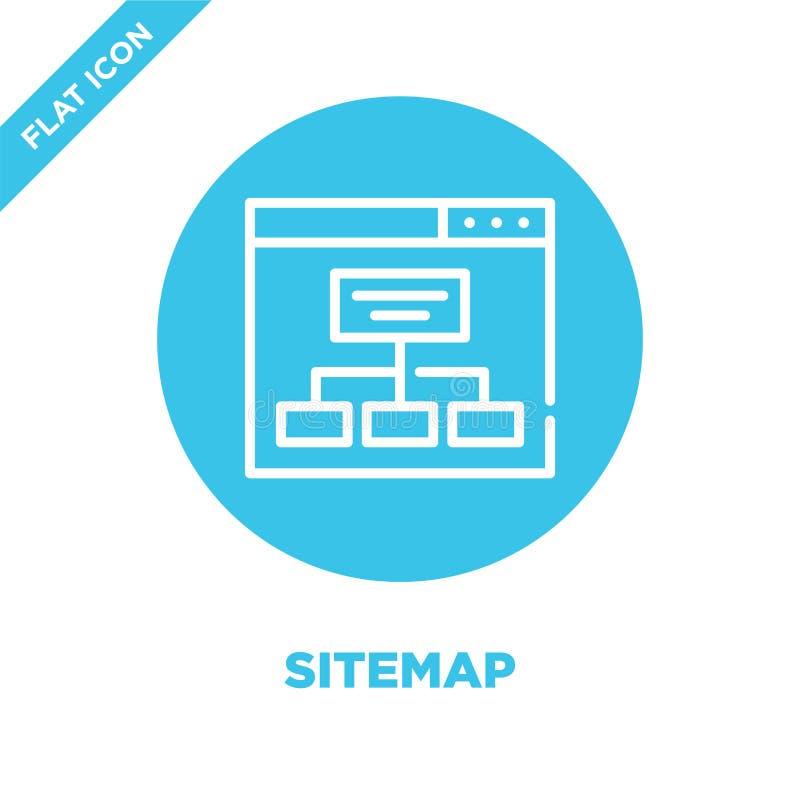 sitemap ikony wektor Cienka kreskowa sitemap konturu ikony wektoru ilustracja sitemap symbol dla używa na sieci i wiszącej ozdoby royalty ilustracja