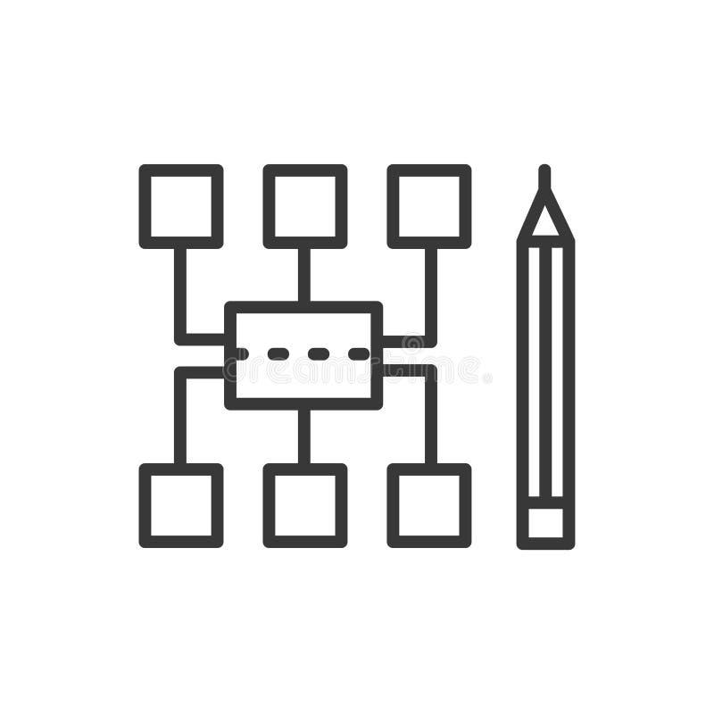 Sitemap - modern vektorlinje designsymbol royaltyfri illustrationer