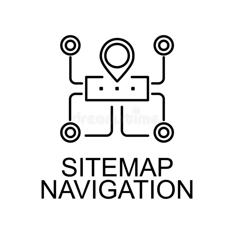 Sitemap navigation line icon. Element of seo and web optimization icon with name for mobile concept and web apps. Thin line. Sitemap navigation line icon can royalty free illustration