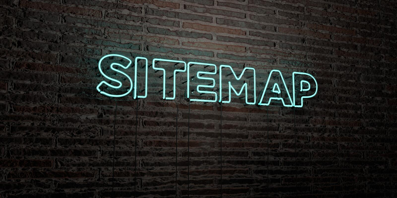 SITEMAP - Realistisch Neonteken op Bakstenen muurachtergrond - 3D teruggegeven royalty vrij voorraadbeeld royalty-vrije illustratie