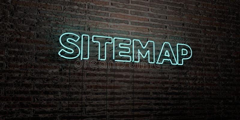 SITEMAP - realistiskt neontecken på bakgrund för tegelstenvägg - 3D framförd fri materielbild för royalty royaltyfri illustrationer