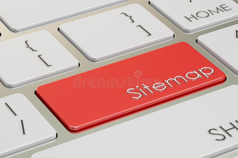 Sitemap red key on keyboard. 3D rendering. Sitemap red key on keyboard vector illustration