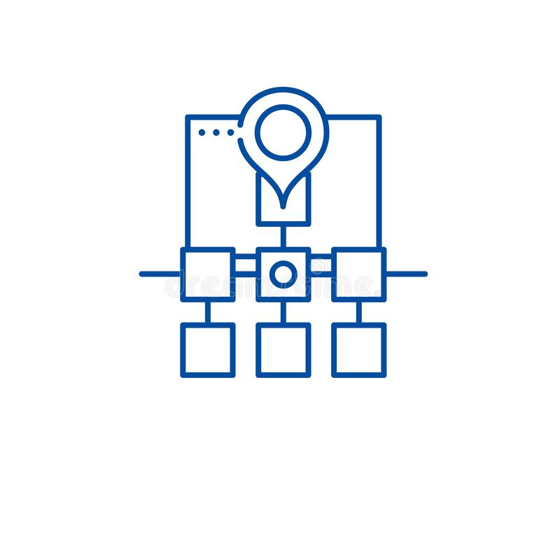 Sitemap sieci struktury linii ikony pojęcie Sitemap sieci struktury płaski wektorowy symbol, znak, kontur ilustracja royalty ilustracja