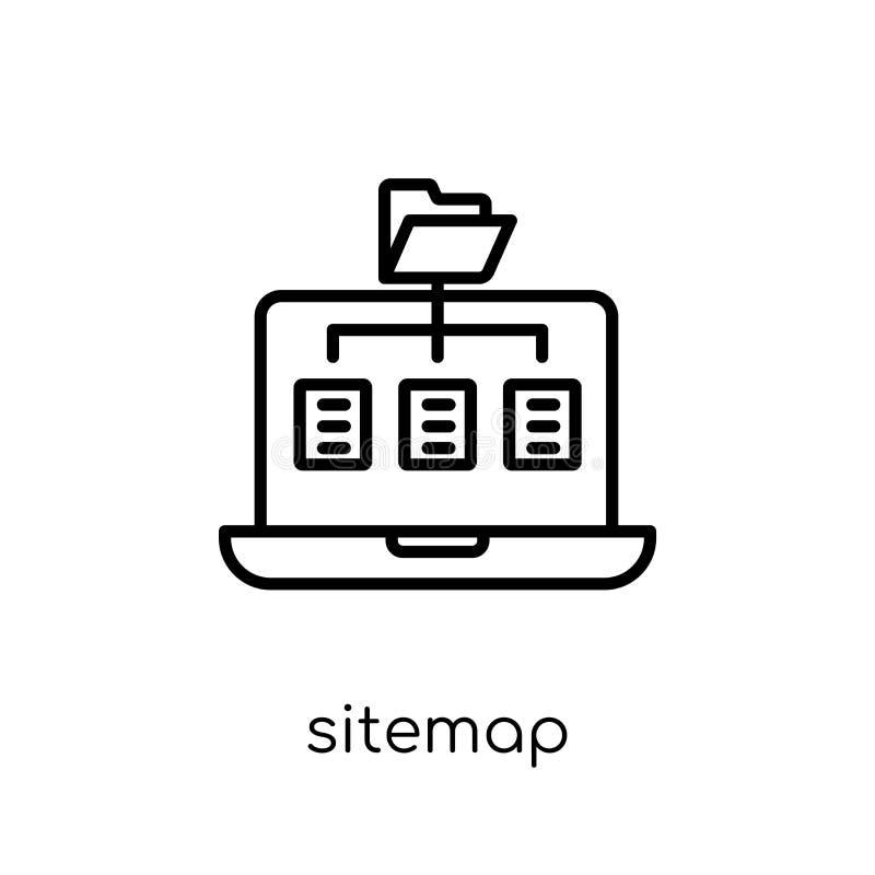 Sitemap symbol Moderiktig modern plan linjär vektorSitemap symbol på w royaltyfri illustrationer