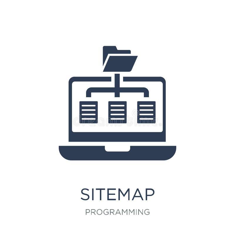 Sitemap symbol Moderiktig plan vektorSitemap symbol på vit backgroun stock illustrationer