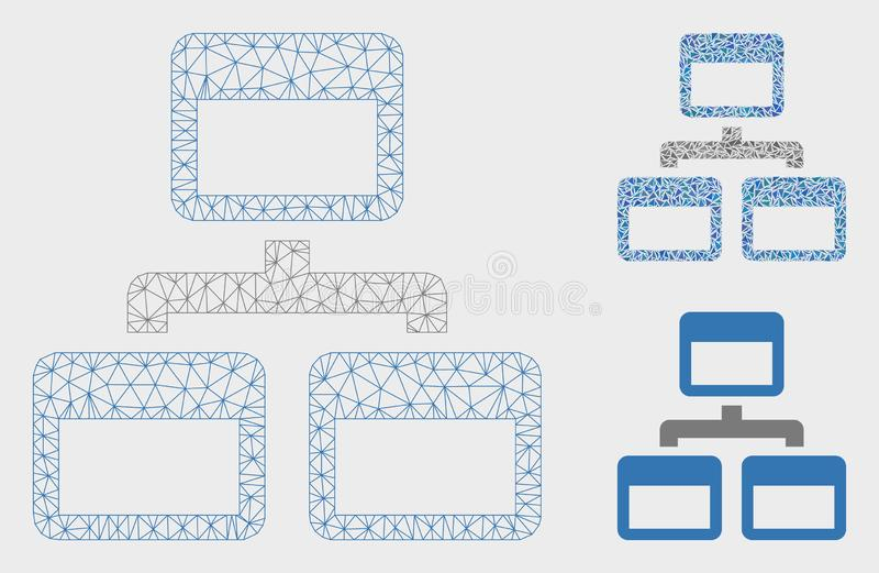 Sitemap-Vektor Mesh Carcass Model und Dreieck-Mosaik-Ikone vektor abbildung