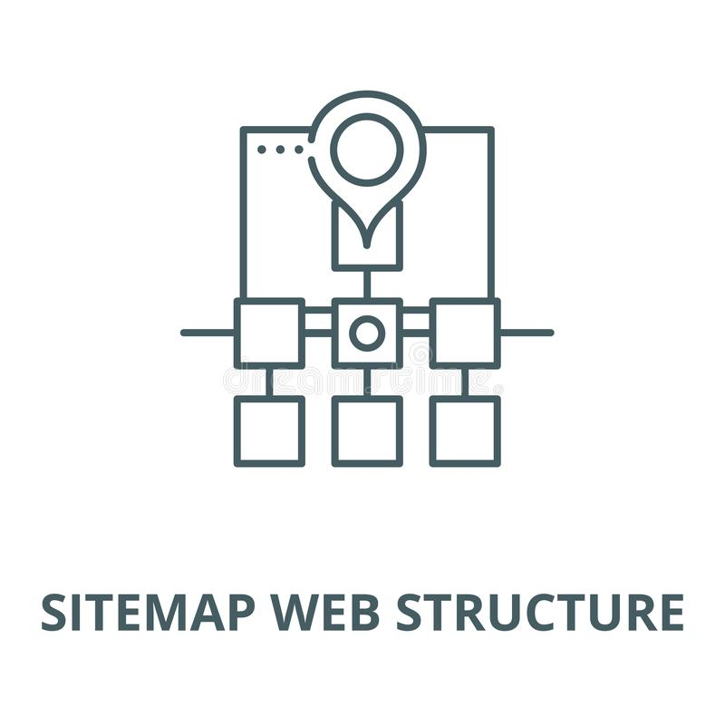 Sitemap web structure vector line icon, linear concept, outline sign, symbol. Sitemap web structure vector line icon, outline concept, linear sign royalty free illustration