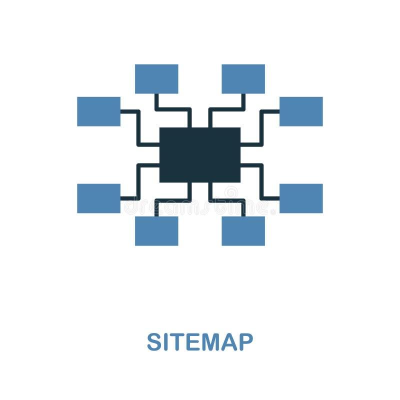 Sitemappictogram Eenvoudige elementenillustratie in 2 kleurenontwerp Het teken van het Sitemappictogram van seoinzameling Perfect royalty-vrije illustratie