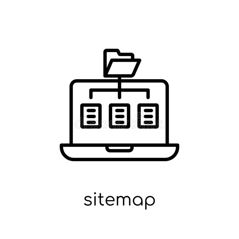 Sitemappictogram In modern vlak lineair vectorsitemap-pictogram op w royalty-vrije illustratie