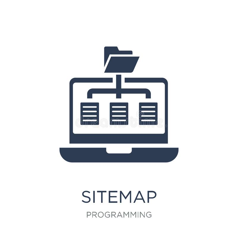 Sitemappictogram In vlak vectorsitemap-pictogram op witte backgroun stock illustratie