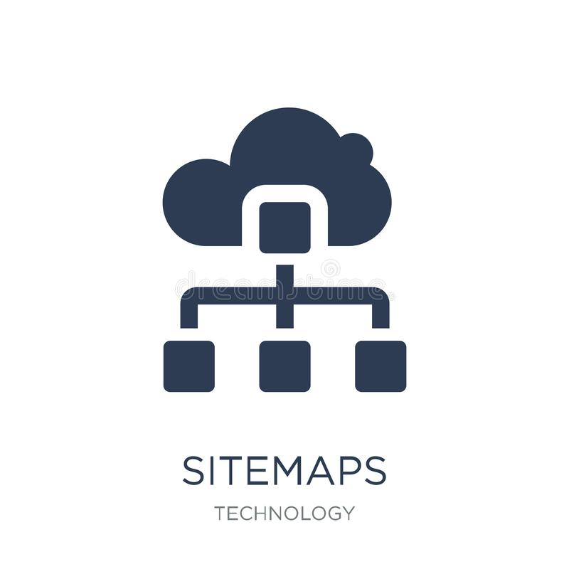 Sitemaps象 在白色backgro的时髦平的传染媒介Sitemaps象 向量例证