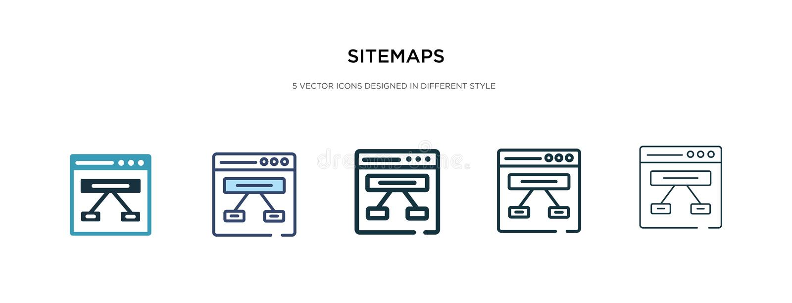 Sitemaps icon in different style vector illustration. two colored and black sitemaps vector icons designed in filled, outline,. Line and stroke style can be royalty free illustration