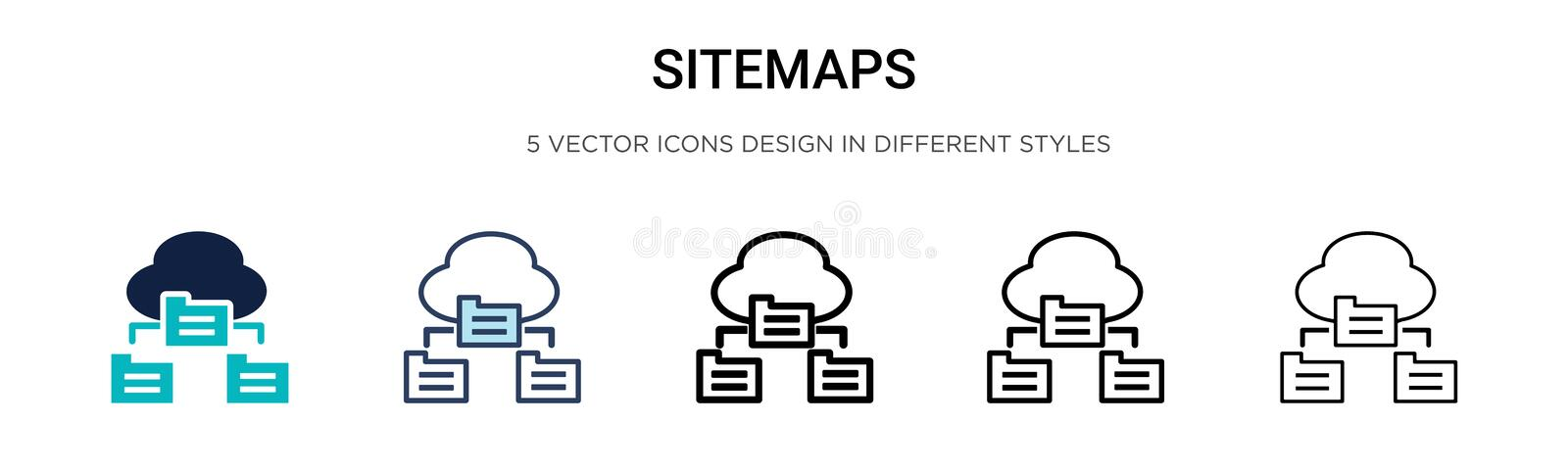 Sitemaps icon in filled, thin line, outline and stroke style. Vector illustration of two colored and black sitemaps vector icons. Designs can be used for mobile vector illustration