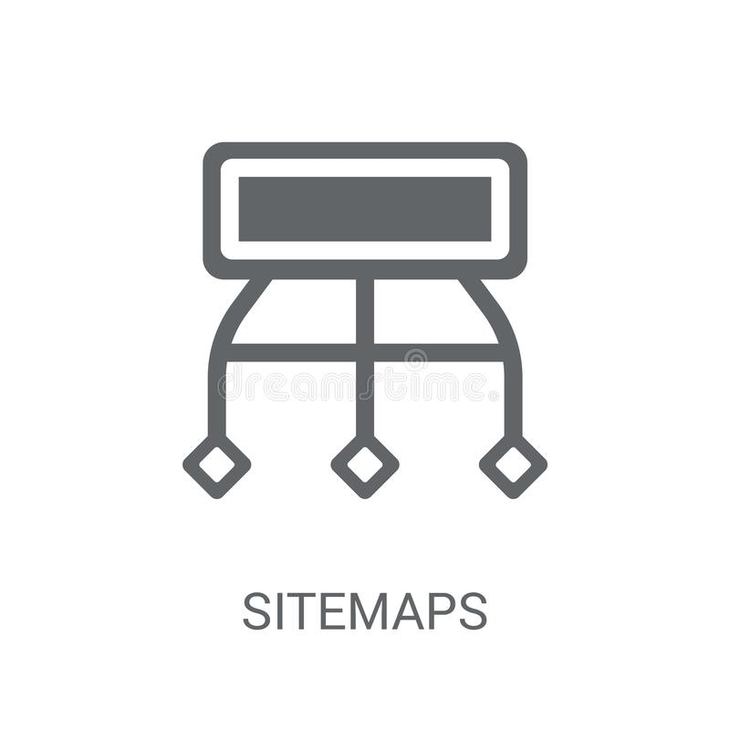 Sitemaps icon. Trendy Sitemaps logo concept on white background. From Technology collection. Suitable for use on web apps, mobile apps and print media stock illustration