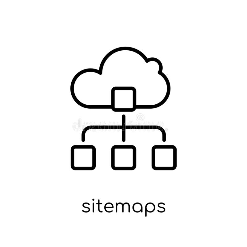 Sitemaps icon. Trendy modern flat linear vector Sitemaps icon on. White background from thin line Technology collection, editable outline stroke vector royalty free illustration