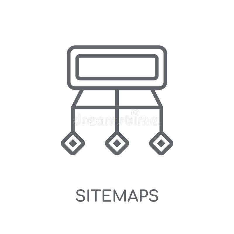 Sitemaps linjär symbol Modernt begrepp för översiktsSitemaps logo på wh royaltyfri illustrationer