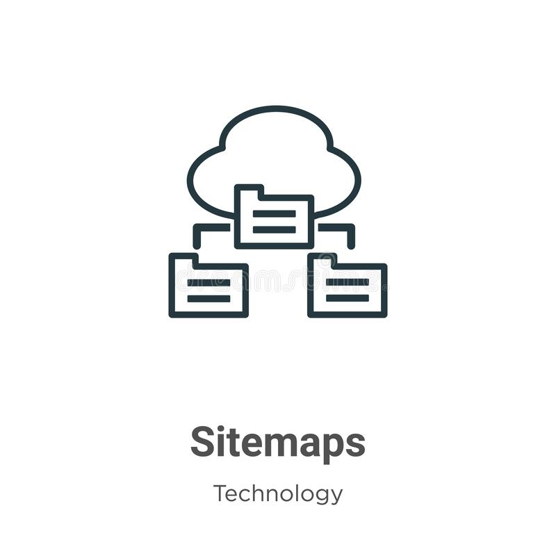 Sitemaps outline vector icon. Thin line black sitemaps icon, flat vector simple element illustration from editable technology. Concept isolated stroke on white vector illustration