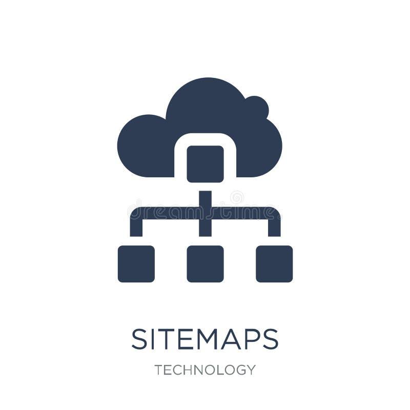 Sitemaps symbol Moderiktig plan vektorSitemaps symbol på den vita backgroen vektor illustrationer