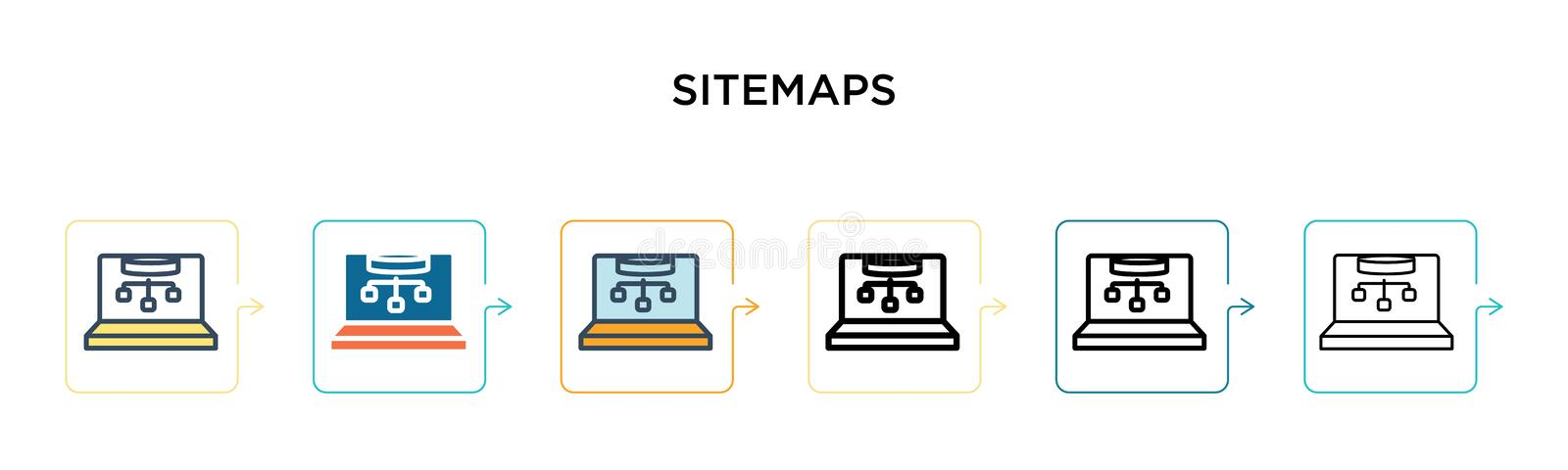 Sitemaps vector icon in 6 different modern styles. Black, two colored sitemaps icons designed in filled, outline, line and stroke. Style. Vector illustration royalty free illustration