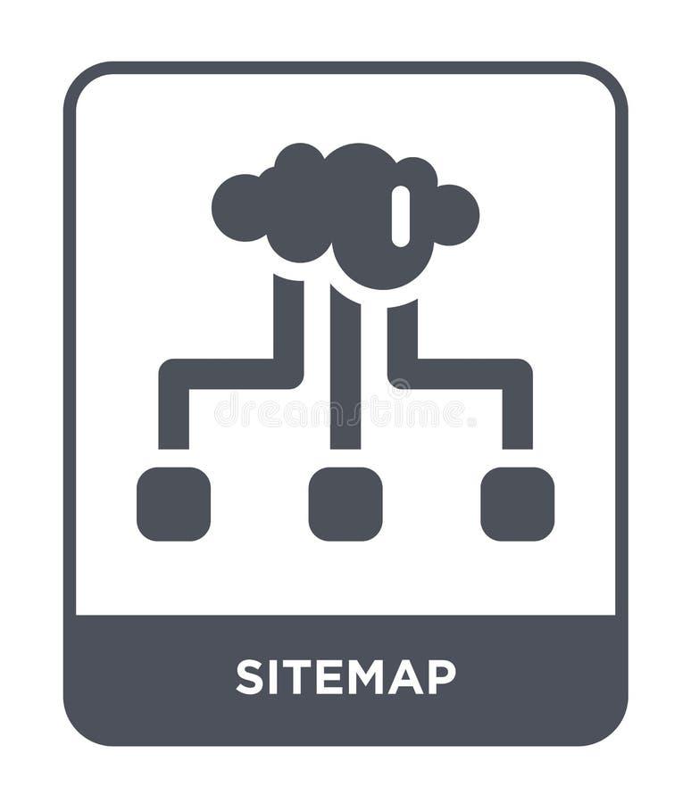 sitemapsymbol i moderiktig designstil sitemapsymbol som isoleras på vit bakgrund enkelt och modernt plant symbol för sitemapvekto vektor illustrationer