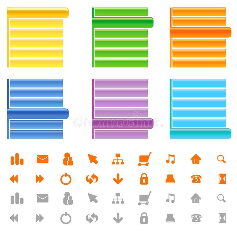 sitemenü und Ikonenset stock abbildung
