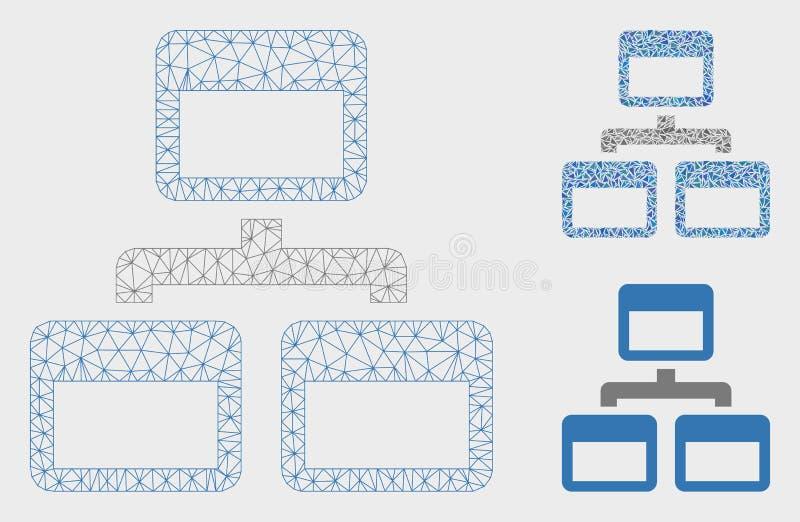Siteoverzicht Vector het Mozaïekpictogram van Mesh Carcass Model en van de Driehoek vector illustratie