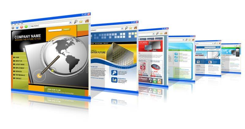 Sites Web d'Internet de technologie se levant illustration libre de droits