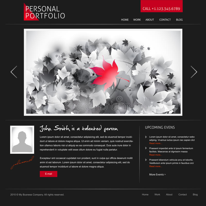 Siteschablone für Entwerfer und Fotografen vektor abbildung