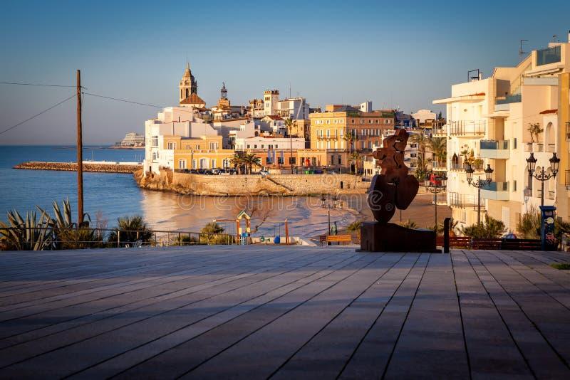 Sitges barcelona, spain, playa de san sebastian stock image