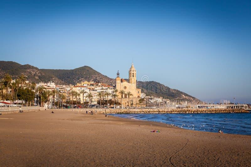 Sitges barcelona, spain, playa de san sebastian stock images